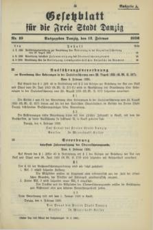 Gesetzblatt für die Freie Stadt Danzig.1936, Nr. 10 (12 Februar) - Ausgabe A
