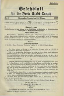 Gesetzblatt für die Freie Stadt Danzig.1936, Nr. 13 (25 Februar) - Ausgabe A
