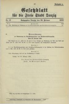 Gesetzblatt für die Freie Stadt Danzig.1936, Nr. 15 (20 Februar) - Ausgabe A