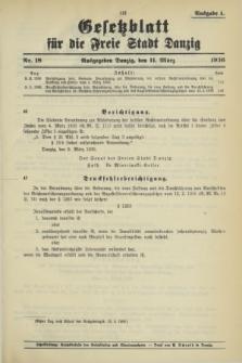Gesetzblatt für die Freie Stadt Danzig.1936, Nr. 18 (11 März) - Ausgabe A