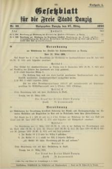 Gesetzblatt für die Freie Stadt Danzig.1936, Nr. 22 (27 März) - Ausgabe A
