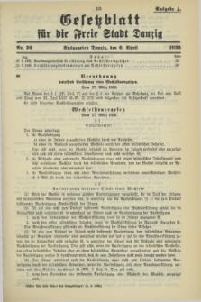 Gesetzblatt für die Freie Stadt Danzig.1936, Nr. 26 (6 April) - Ausgabe A