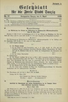 Gesetzblatt für die Freie Stadt Danzig.1936, Nr. 27 (8 April) - Ausgabe A