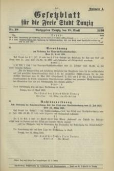 Gesetzblatt für die Freie Stadt Danzig.1936, Nr. 28 (15 April) - Ausgabe A