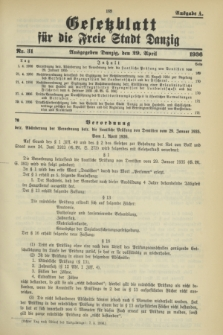 Gesetzblatt für die Freie Stadt Danzig.1936, Nr. 31 (29 April) - Ausgabe A