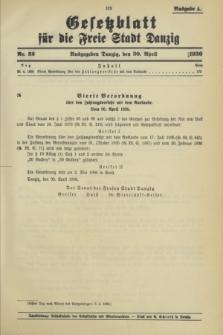 Gesetzblatt für die Freie Stadt Danzig.1936, Nr. 32 (30 April) - Ausgabe A
