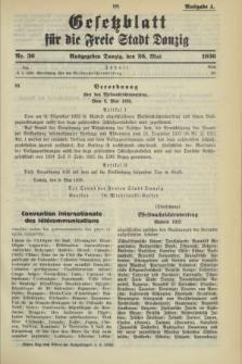 Gesetzblatt für die Freie Stadt Danzig.1936, Nr. 36 (26 Mai) - Ausgabe A