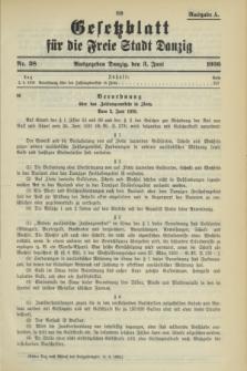 Gesetzblatt für die Freie Stadt Danzig.1936, Nr. 38 (3 Juni) - Ausgabe A