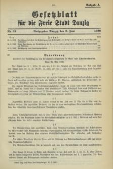 Gesetzblatt für die Freie Stadt Danzig.1936, Nr. 39 (3 Juni) - Ausgabe A