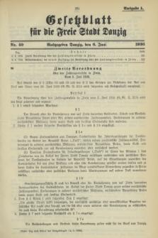 Gesetzblatt für die Freie Stadt Danzig.1936, Nr. 40 (6 Juni) - Ausgabe A