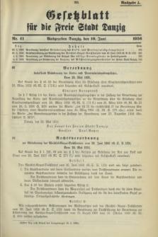 Gesetzblatt für die Freie Stadt Danzig.1936, Nr. 41 (10 Juni) - Ausgabe A