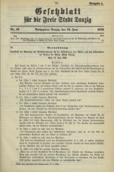 Gesetzblatt für die Freie Stadt Danzig.1936, Nr. 42 (16 Juni) - Ausgabe A