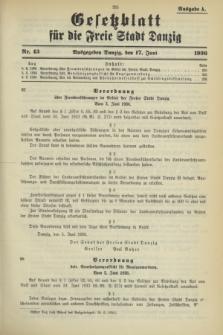 Gesetzblatt für die Freie Stadt Danzig.1936, Nr. 43 (17 Juni) - Ausgabe A