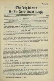 Gesetzblatt für die Freie Stadt Danzig.1936, Nr. 44 (18 Juni) - Ausgabe A