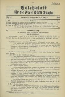 Gesetzblatt für die Freie Stadt Danzig.1936, Nr. 60 (27 August) - Ausgabe A