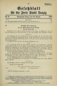 Gesetzblatt für die Freie Stadt Danzig.1936, Nr. 61 (29 August) - Ausgabe A