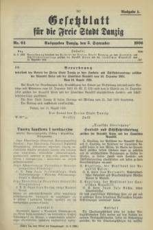 Gesetzblatt für die Freie Stadt Danzig.1936, Nr. 64 (5 September) - Ausgabe A