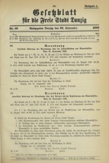 Gesetzblatt für die Freie Stadt Danzig.1936, Nr. 66 (22 September) - Ausgabe A