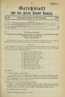 Gesetzblatt für die Freie Stadt Danzig.1936, Nr. 68 (30 September) - Ausgabe A