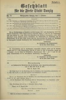 Gesetzblatt für die Freie Stadt Danzig.1936, Nr. 71 (7 Oktober) - Ausgabe A