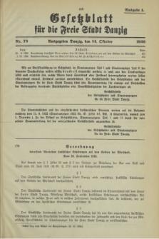 Gesetzblatt für die Freie Stadt Danzig.1936, Nr. 73 (14 Oktober) - Ausgabe A