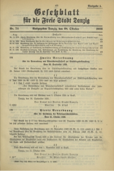 Gesetzblatt für die Freie Stadt Danzig.1936, Nr. 74 (28 Oktober) - Ausgabe A