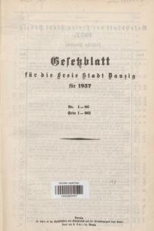 Gesetzblatt für die Freie Stadt Danzig.1937, Spis treści