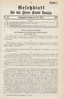 Gesetzblatt für die Freie Stadt Danzig.1937, Nr. 20 (17 März) - Ausgabe A