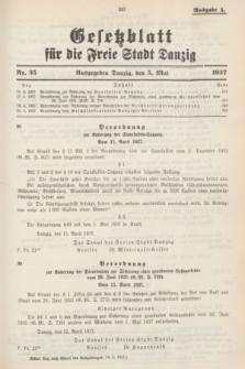 Gesetzblatt für die Freie Stadt Danzig.1937, Nr. 35 (5 Mai) - Ausgabe A