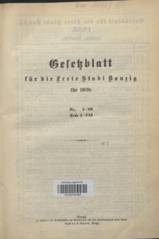 Gesetzblatt für die Freie Stadt Danzig.1938, Spis treści