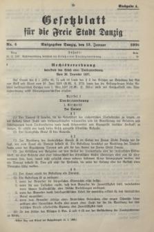 Gesetzblatt für die Freie Stadt Danzig.1938, Nr. 4 (13 Januar) - Ausgabe A