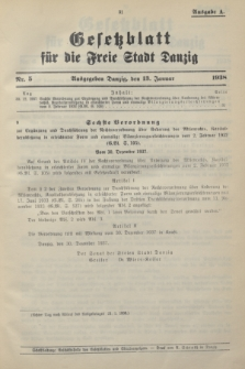 Gesetzblatt für die Freie Stadt Danzig.1938, Nr. 5 (13 Januar) - Ausgabe A