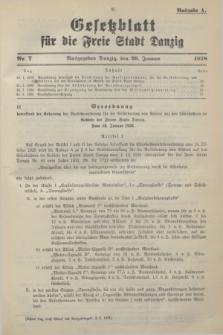 Gesetzblatt für die Freie Stadt Danzig.1938, Nr. 7 (26 Januar) - Ausgabe A