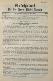 Gesetzblatt für die Freie Stadt Danzig.1938, Nr. 17 (25 März) - Ausgabe A