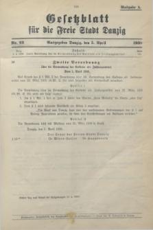 Gesetzblatt für die Freie Stadt Danzig.1938, Nr. 23 (5 April) - Ausgabe A
