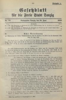 Gesetzblatt für die Freie Stadt Danzig.1938, Nr. 38 (18 Juni) - Ausgabe A