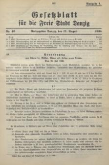 Gesetzblatt für die Freie Stadt Danzig.1938, Nr. 46 (17 August) - Ausgabe A