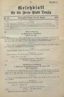 Gesetzblatt für die Freie Stadt Danzig.1938, Nr. 48 (24 August) - Ausgabe A