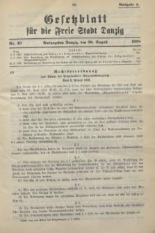 Gesetzblatt für die Freie Stadt Danzig.1938, Nr. 49 (30 August) - Ausgabe A