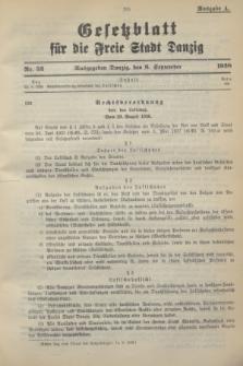 Gesetzblatt für die Freie Stadt Danzig.1938, Nr. 52 (6 September) - Ausgabe A
