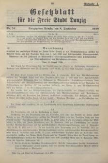 Gesetzblatt für die Freie Stadt Danzig.1938, Nr. 54 (8 September) - Ausgabe A