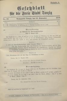 Gesetzblatt für die Freie Stadt Danzig.1938, Nr. 58 (14 September) - Ausgabe A