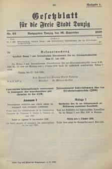 Gesetzblatt für die Freie Stadt Danzig.1938, Nr. 62 (26 September) - Ausgabe A