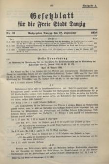 Gesetzblatt für die Freie Stadt Danzig.1938, Nr. 63 (28 September) - Ausgabe A