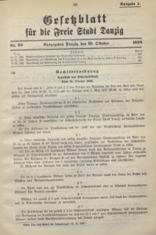 Gesetzblatt für die Freie Stadt Danzig.1938, Nr. 68 (19 Oktober) - Ausgabe A