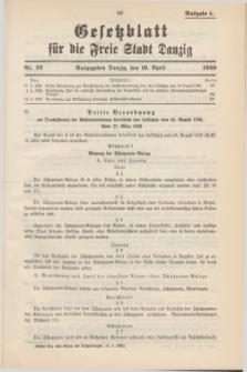 Gesetzblatt für die Freie Stadt Danzig.1939, Nr. 32 (19 April) - Ausgabe A