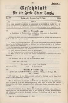 Gesetzblatt für die Freie Stadt Danzig.1939, Nr. 58 (21 Juli) - Ausgabe A