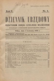 Dziennik Urzędowy Kuratorjum Okręgu Szkolnego Wileńskiego. R.5, nr 4 (5 kwietnia 1928)