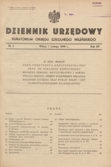 Dziennik Urzędowy Kuratorjum Okręgu Szkolnego Wileńskiego. R.15, nr 2 (1 lutego 1938)