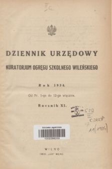 Dziennik Urzędowy Kuratorjum Okręgu Szkolnego Wileńskiego. R.11, Skorowidz alfabetyczny (1934)